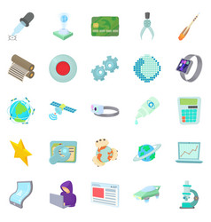 novelty icons set cartoon style vector image