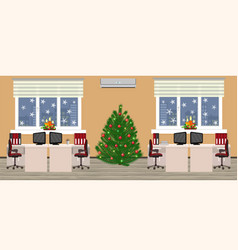Office room interior in christmas design with two vector