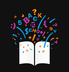 Open book with different symbols concept vector