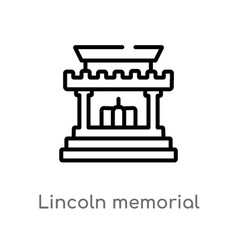 Outline lincoln memorial icon isolated black vector