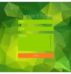 Polygonal green contact form vector image