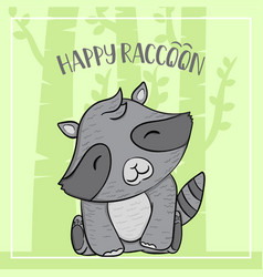Raccoon cartoon animal autumn with trees and vector