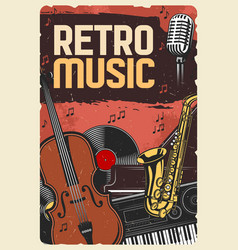 retro music poster instruments and vinyl vector image