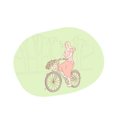 riding bicycle in summer concept vector image