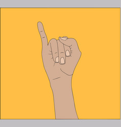 right hand shows the little finger isolated vector image