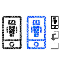 Robot communicator composition icon round dots vector