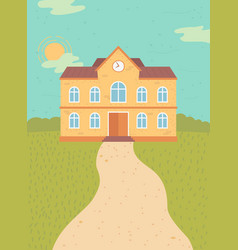 school building exterior facade building vector image