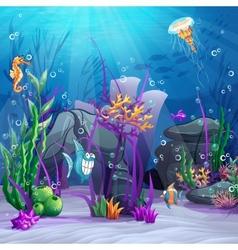 seabed with rocks algae vector image