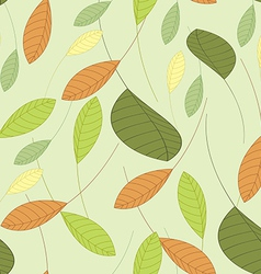Seamless background with leaves in shades green vector