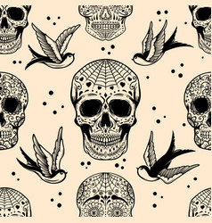 seamless pattern with mexican sugar skulls vector image