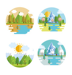 Seasonal weather set landscapes vector