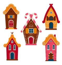 set cute colorful fairy tale homes vector image