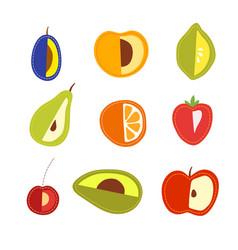 Set of cartoon fruits vegetarian foods vector
