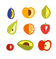 set of cartoon fruits vegetarian foods vector image