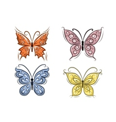 Set of ornamental butterflies for your design vector image