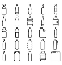 Set of plastic bottles and other containers vector