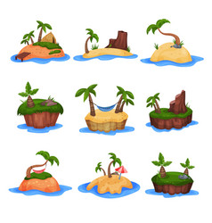set of tropical islands with palm trees and vector image