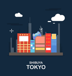 Shibuya tokyo tourist attraction in the night vector