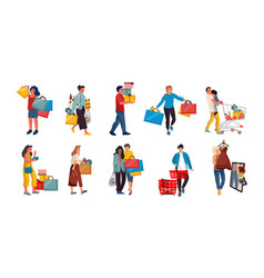 shopping people trendy cartoon characters on vector image