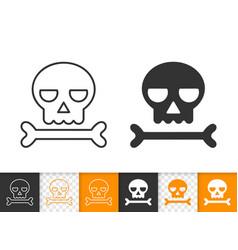 Skull simple black line icon of danger vector