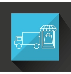 Smartphone e-commerce basket bag shop delivery vector