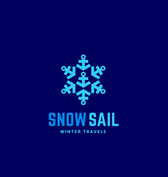 snow sail winter travels abstract sign vector image