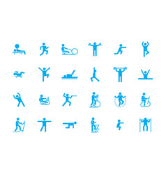 Sports fitness workout icons large set training vector