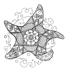 Starfish coloring book for adults vector image