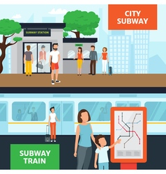 Subway People Horizontal Banners vector image
