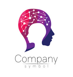 Symbol of human head profile face violet vector