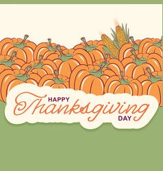 thanksgiving background with seasonal pumpkins vector image