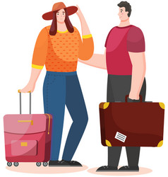 travelling couple going to go on vacation people vector image