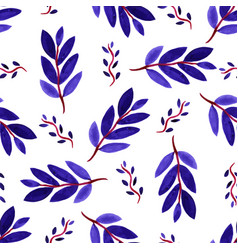Tropical watercolor leaves seamless pattern vector