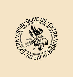 Vintage olive logo retro emblem with vector