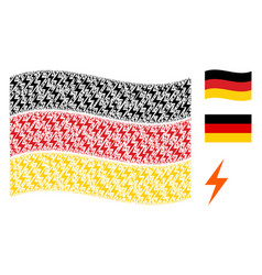 Waving germany flag collage of electric bolt icons vector