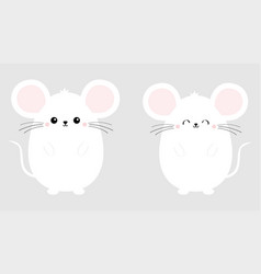 white mouse set happy new year 2020 sign symbol vector image