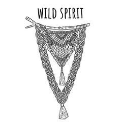 Wild spirit macrame boho style label textile vector
