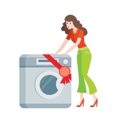 Woman Buys Washing Machine in Flat Style Isolated vector image