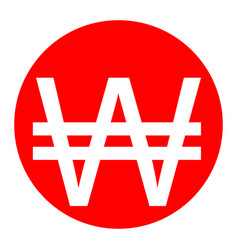 won sign white icon in red circle on vector image