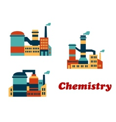 Colorful flat buildings of chemical factories or vector image vector image