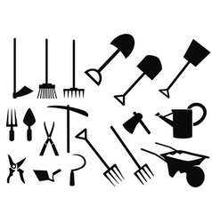 gardening tools Silhouette set vector image