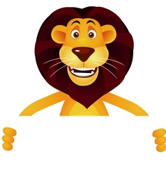 lion cartoon and blank sign vector image vector image