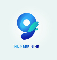 Number nine in trend shape style vector