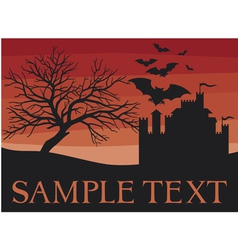 bats flying with old castle and scary black tree vector image vector image