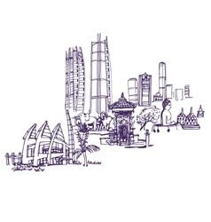 Jakarta skyline detailed silhouette vector image