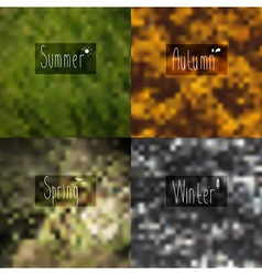 pixel blurred wallpaper seasons with the words in vector image vector image