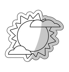 sun cloud weater symbol cut line vector image
