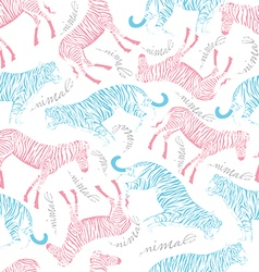 tiger and zebra on white background vector image vector image