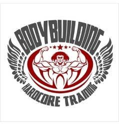 Bodybuilding emblem Isolated background vector image vector image
