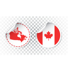 Canada sticker with flag and map label round tag vector